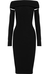 Mcq By Alexander Mcqueen Off The Shoulder Cutout Stretch Knit Dress Black
