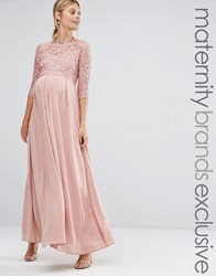Queen Bee Lace Bodice Maxi Dress Peach Pink