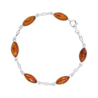 Goldmajor Sterling Silver Amber Marquise Chain Bracelet Silver Cognac