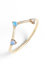 Wwake 'Counting Collection Three Step Triangle' Opal And Diamond Ring Yellow Gold