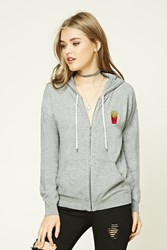 Forever 21 French Fry Graphic Hoodie Heather Grey