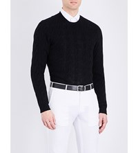 Ralph Lauren Purple Label Cable Knit Cashmere Jumper Classic Black