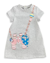 Little Marc Jacobs Binocular Trompe L'oeil Dress Gray