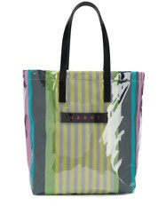 Marni Striped Logo Tote Blue