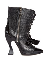 Loewe Curved Heel Lace Up Boots Black