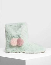 Charles And Keith Furry Pom Pom Boots Mt.Grn