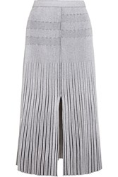 Proenza Schouler Plated Knit Midi Skirt White