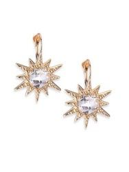 Anzie Aztec White Topaz And 14K Yellow Gold Starburst Earrings