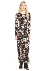 Hinge Long Sleeve Maxi Dress Pink Tan Frontier Floral