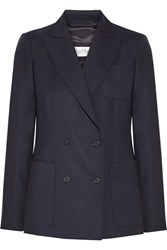 Max Mara Arpa Double Breasted Wool Twill Blazer Midnight Blue