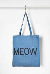 Forever 21 Meow Chambray Shopper Tote Blue Black