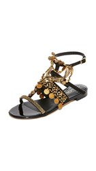 Oscar De La Renta Coin Sandals Black Gold