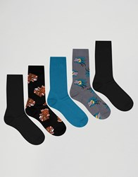 Asos Socks With Dragon And Tiger Design 5 Pack Multi