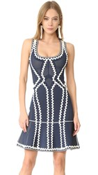 Herve Leger Issaa Zigzag Dress Carbon Combo
