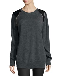 Michael Michael Kors Long Sleeve Leather Inset Tunic