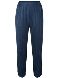 Issey Miyake Pleats Please By Pleated Cropped Trousers Women Polyester 5 Blue