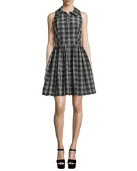 Michael Kors Sleeveless Button Front Plaid Shirtdress Black Muslin Women's