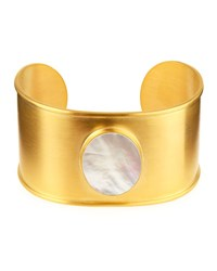 Dina Mackney 18K Gold Plated Mother Of Pearl Cuff Bracelet