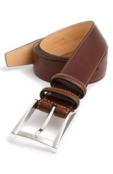 Men's Big And Tall Trafalgar 'Easton' Calfskin Belt Honey