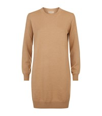 Burberry Knitted Wool Dress Female Camel