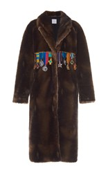 Stella Jean Faux Fur Medallion Coat Brown