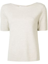 Allude Short Sleeve Jumper Women Virgin Wool L Nude Neutrals