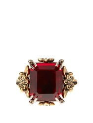 Alexander Mcqueen Crystal Embellished Ring Red