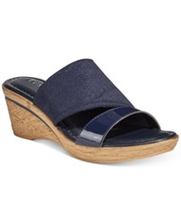 Easy Street Shoes Tuscany By Adagio Wedge Sandals Women's Navy Patent