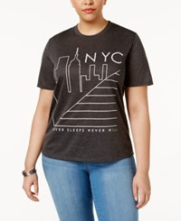Mighty Fine Trendy Plus Size Nyc Graphic T Shirt Heather Grey