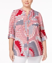 Charter Club Plus Size Mixed Print Shirt Only At Macy's New Red Amore Combo