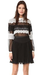 Three Floor Saint Lace Dress Black White