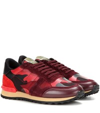 Valentino Rockrunner Printed Leather Fabric And Suede Sneakers Red