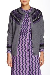Anna Sui Sparkle Fairisle Wool Cardigan Purple