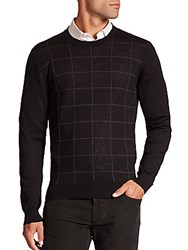 Saks Fifth Avenue Graphic Check Merino Wool Sweater Black