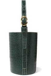 Trademark Small Croc Effect Leather Bucket Bag Dark Green