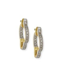 Jude Frances Lisse Small Clover Hoop Earrings With Diamonds Gold