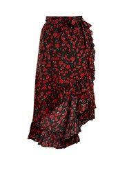Raquel Diniz Lucy Floral Print Silk Georgette Skirt Black Red