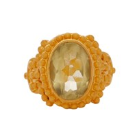 Carousel Jewels Intricate Lemon Topaz Cocktail Ring Neutrals