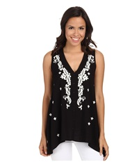 Karen Kane Embroidered Handkerchief Tank Top Black Women's Sleeveless