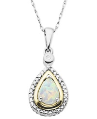 Macy's 14K Gold And Sterling Silver Necklace Opal 3 8 Ct. T.W. And Diamond Accent Teardrop Pendant