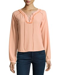 Dance And Marvel Fringe Trim Lace Up Top Peach