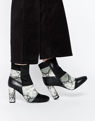 Truffle Collection Alice Patchwork Heeled Ankle Boots Black
