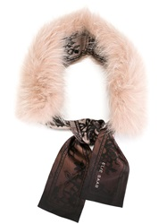 Elie Saab Fur Scarf Nude And Neutrals