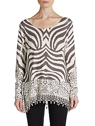 Harlow Zee Fringe Trimmed Animal Knit Top Brown White