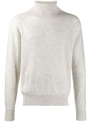Tom Ford Ribbed Roll Neck Knitted Jumper Neutrals