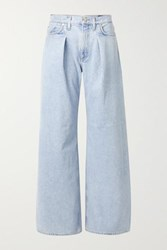 Gold Sign Goldsign Pleated High Rise Wide Leg Jeans Blue