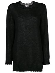 Red Valentino Oversized Long Sleeve Sweater Black