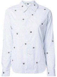 Jupe By Jackie Striped Floral Pattern Shirt White