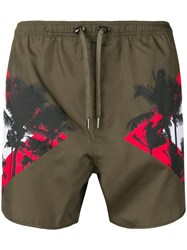 Neil Barrett Palm Print Swim Shorts Green