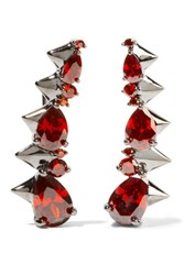 Noir Jewelry Arctic Ice Gunmetal Tone Crystal Earrings Red